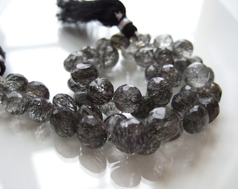 6 beads - AAA Black Tourmalated Quartz Onion Briolettes - 8x8mm  (No. 1074)