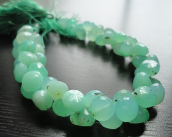 Glowing Minty Green Chrysoprase Faceted Onion Briolettes (No. 1360)