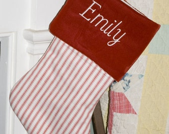 Red Ticking and Velvet Christmas Stocking, Personalized