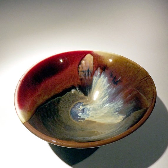 Red, Amber, and cream Bowl