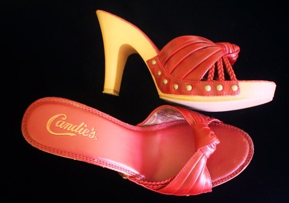 Authentic Candies Red High Heel Sandals Size by VintageJewelryEtc
