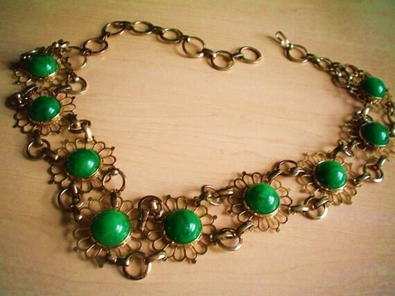 Vintage Belt Gold Metal Green Swirl Cabochons