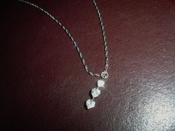 Sale...Sale...Vintage Necklace Three Rhinestone Hearts on Chain