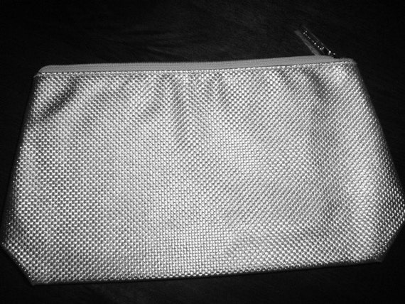 Vintage Clutch Bag, Makeup Case, Silver