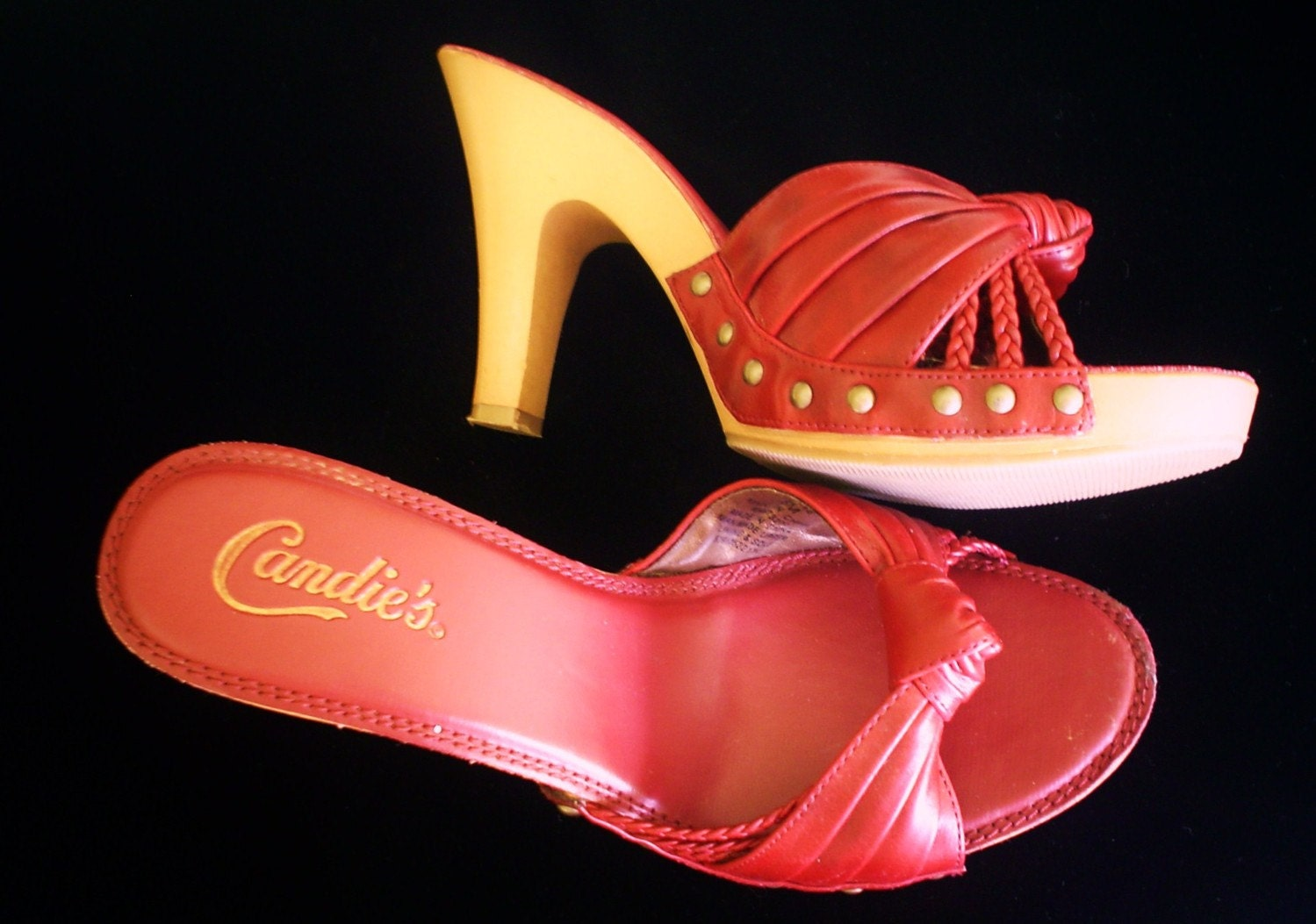 Authentic Candies Red High Heel Sandals Size 8