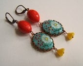 Red turquoise yellow vintage earrings Frida Kahlo