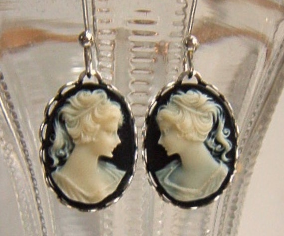 Cameo Earrings Vintage Black and White Portrait Cabochon Silver Findings