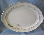 Vintage Taylor Smith Taylor Oval Serving Platter Green Wheat