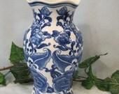 Colbalt Blue and White Wall Hanging Pocket Vase