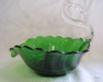 Beautiful Emerald Green Swan Candle Holder