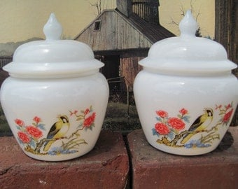 Vintage AVON Dynasty White Milk Glass Ginger Jar Oriental Asian Pair