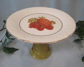 Beautiful Vintage Inspired Pineapple Amber Cake Dessert Pedestal Serving Plate