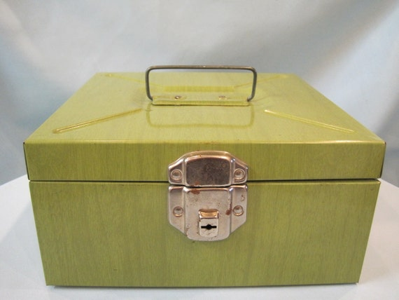 Vintage 1970s Green Metal Check File Box Organizer With Lock & Key