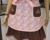 HANDMADE: Double half apron, MODETRN style, Bella Claire,  pink print and brown front apron