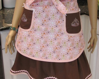 Double half apron, Retro style, Bella Claire,  pink print and brown front apron