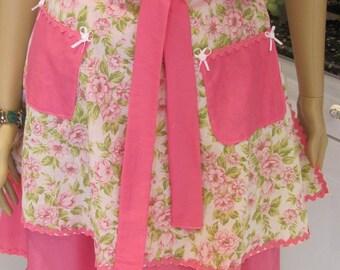 Double, half apron, retro Style,Bella Claire, floral pink print, hot pink front apron