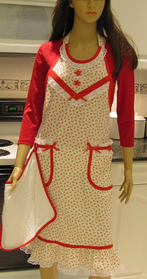 Full apron, Extra long,  Vintage Style, White/Red print with red accents and lace trim