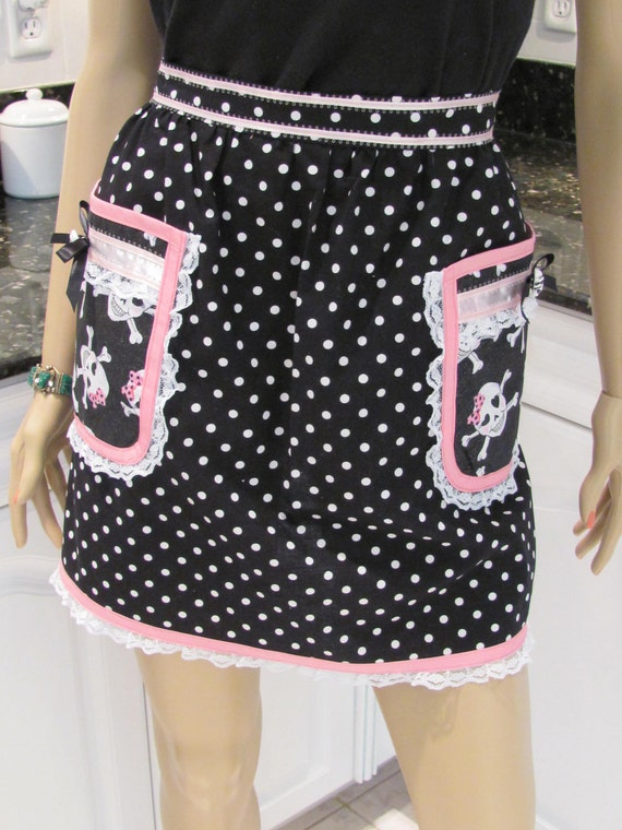 SEXY GOTH HALF apron:  plus sized black polka dot , with a skull print accents