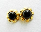 """Vintage 1960 Italian - earrings """"button jewel"""" - large black cabochon and crystals- a splendidly retro look -Art.953-"""