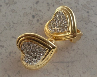 Adorable heart-shaped earrings, 1970s Italian high fashion  - goldtone  and crystals -Ideal gift for the beloved-Art.326 -