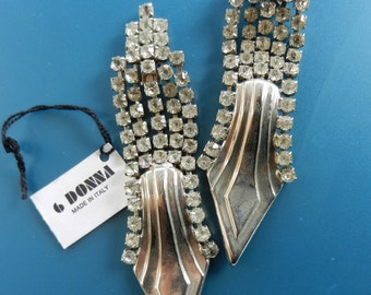 Vintage 1970 - Italian fashion - signed earrings, Maison 6 DONNA -crystals great night-art.03-