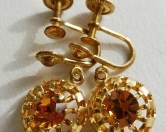 1940 Italian Vintage Earrings - Crystal Cognac and red gold -art.32 -