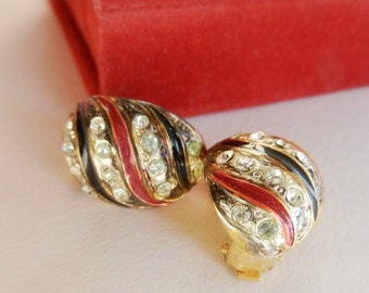 Christmas SALE - Amazing 1960s vintage earrings, Italian - crystals and enamel for a timeless style -Art.903 -