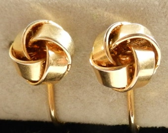 Gorgeous 1940s Vintage English Victorian style - Numbered earrings - red gold brass - refined elegance -Art.527-