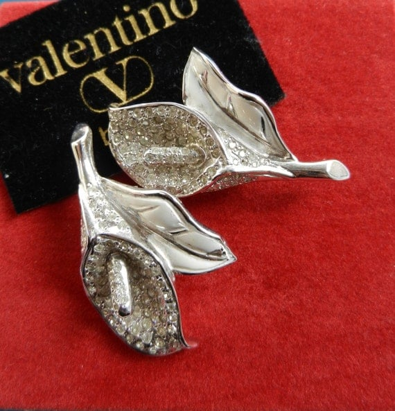 Italian Haute Couture - Beautiful earrings and rare signed VALENTINO 1970-art.33-