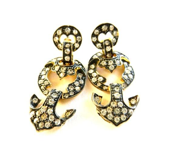 Lovely Vintage 1970 - crystal earrings, bronze brass - great evening -Art.280-