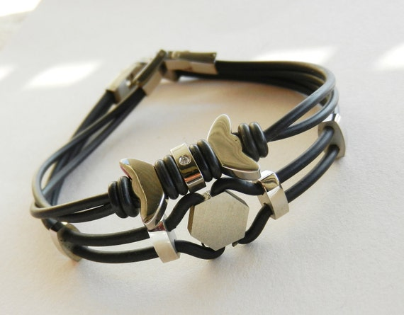 1980 Italian vintage bracelets - steel and caoutchouc - for him and her - a winning pair -Art.808 -
