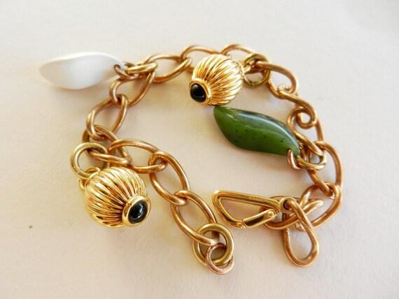 Gorgeous Bracelet Vintage 1960 - precious pendants with stones and beautiful golden steel-Art.901-