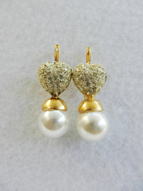 Wedding Promotion -Vintage 1970 - beautiful earrings with crystals and pearls, for the romantic bride -Wedding jewelery-Art.957 -