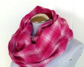 Fuchsia Plaid Infinity Scarf, Fashionable Honeysuckle Pink and Medium Pink Plaid Cowl Loop Scarf