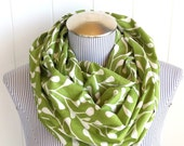 Infinity Scarf, Pretty Spring Green Leaves, Natural Mossy Print Loop Scarf