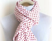 Polka Dot infinity Scarf, White with Red Polka Dots Flannel Scarf