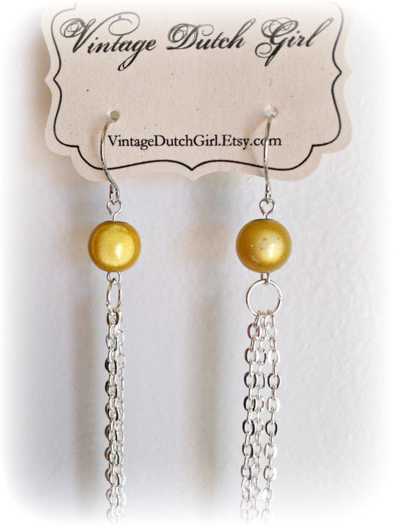 Yellow Dangle Chain Earrings, Extra Long Chain Dangle Fall Umber Earrings.