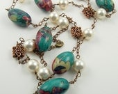 SALE CLEARANCE Copper Wood and Pearl Necklace