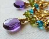 Amethyst, Peridot, Apatite Quartz, Pyrite Gold Earrings - Chandelier Earrings