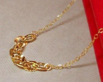 "Hammered Links 14K Goldfilled Necklace - ""Eclair""........"