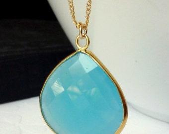 Aqua Blue Chalcedony Bezel Set Pendant Necklace -  14K Goldfilled Beaded Chain