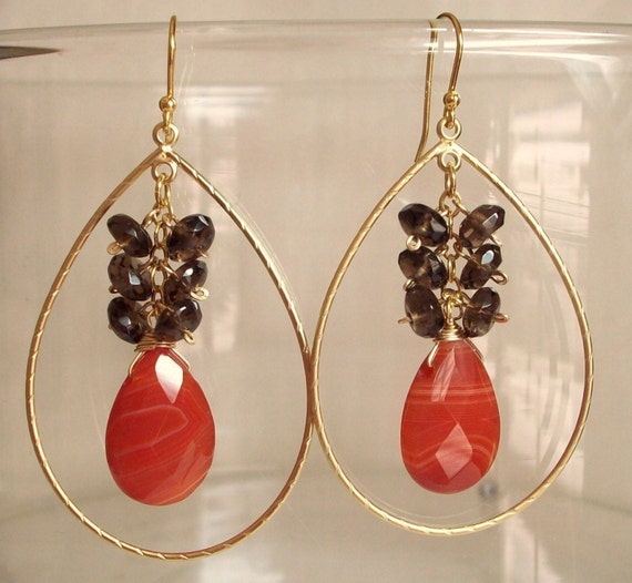 Red Agate Briolette Smoky Quartz Cluster Teardrop Gold Hoop Earrings