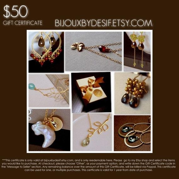 Gift Certificate- 50 Dollars - Bijouxbydesif......