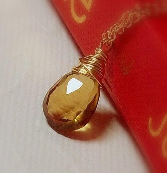 Whiskey Quartz Pendant Necklace - 14K Goldfilled