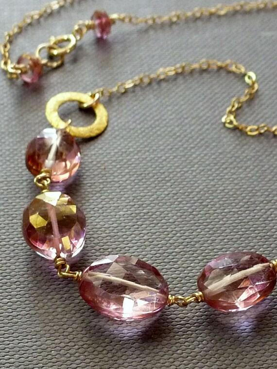 Pink Mystic Topaz Nuggets Necklace - 14K Goldfilled