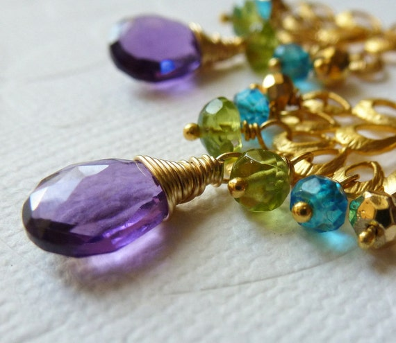 Amethyst, Peridot, Apatite Quartz, Pyrite Gold Earrings - Chandelier Earrings