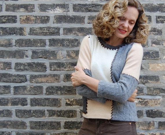 Cashmere Patch Sweater -- hand made from recycled cashmere