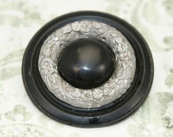 Vintage Black Bakelite Brooch