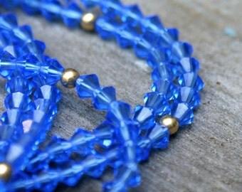 Vintage Swarvoski Crystal Blue Necklace Beaded