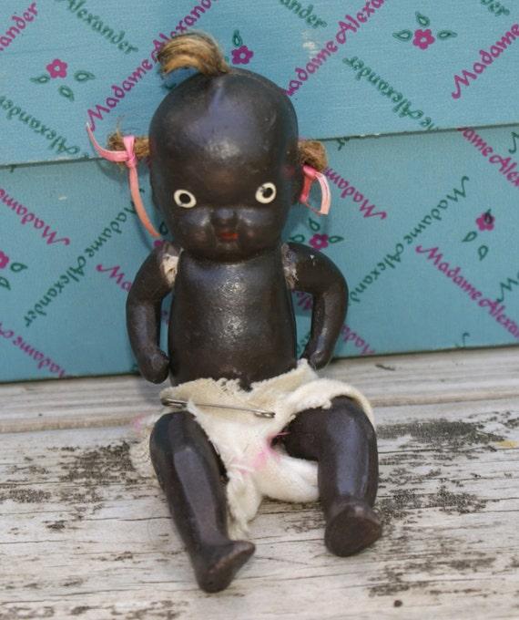 Vintage BLACK Porcelain JOINTED Baby DOLL Japan